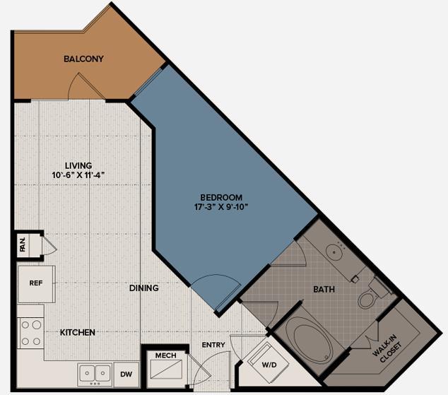 639 sq. ft. A11 floor plan