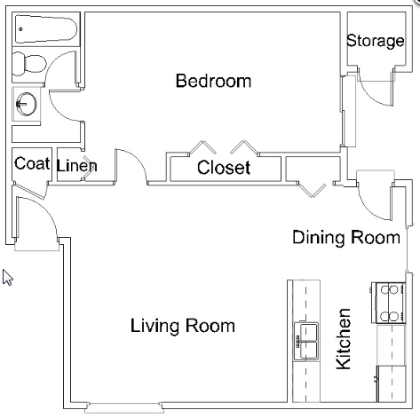 634 sq. ft. A1 floor plan