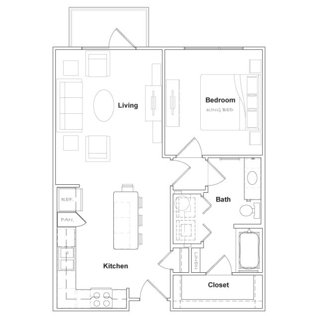 729 sq. ft. A2- floor plan