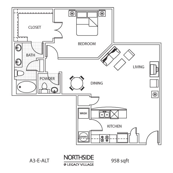 958 sq. ft. to 1,057 sq. ft. A3-E ALT floor plan