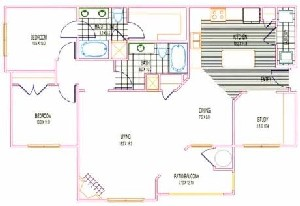 1,296 sq. ft. B3 floor plan