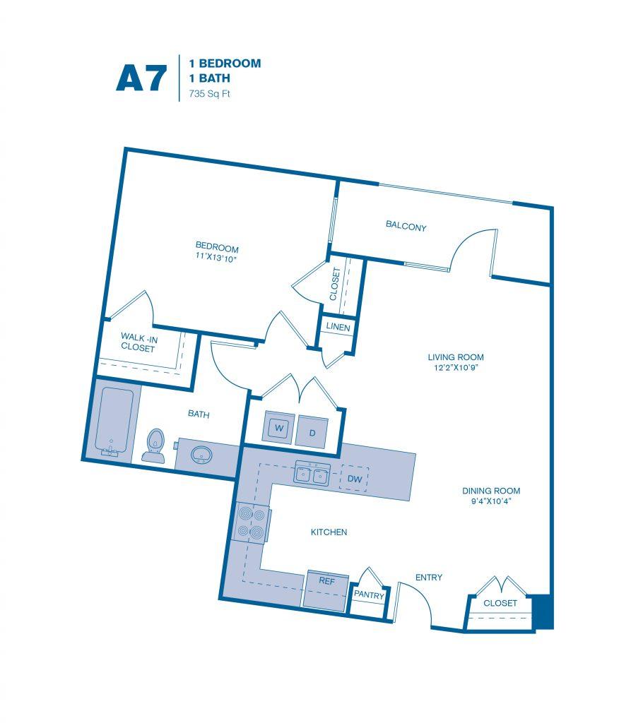 735 sq. ft. A7 floor plan
