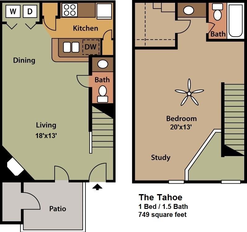 749 sq. ft. TAHOE floor plan