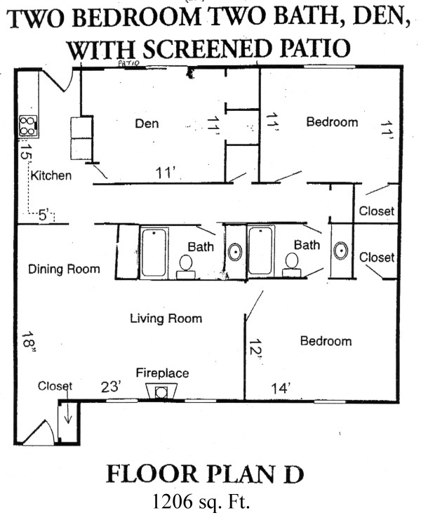 1,206 sq. ft. D floor plan