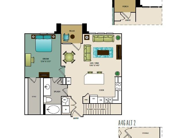 848 sq. ft. A4G floor plan