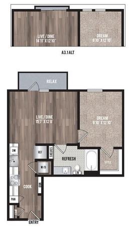 620 sq. ft. A3 floor plan