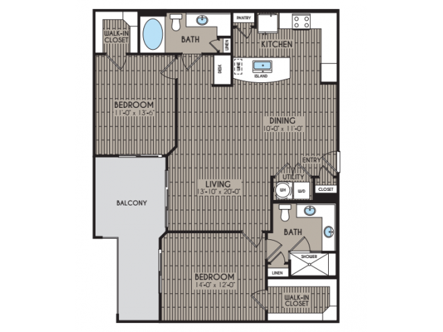 1,233 sq. ft. Blanca floor plan