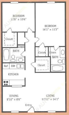 1,018 sq. ft. S floor plan