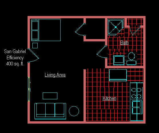 400 sq. ft. EFF B floor plan