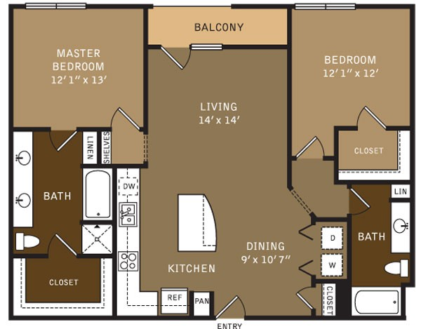 1,231 sq. ft. B1 (I) floor plan