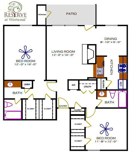 1,172 sq. ft. F/Magnolia floor plan