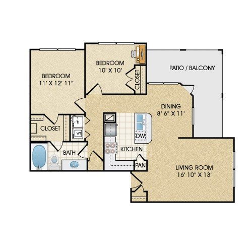 992 sq. ft. B1A/B1AT floor plan