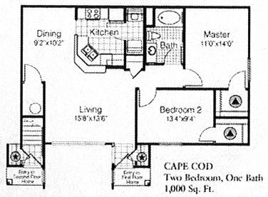 1,000 sq. ft. to 1,098 sq. ft. CAPE COD floor plan