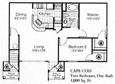 1,000 sq. ft. to 1,098 sq. ft. C floor plan