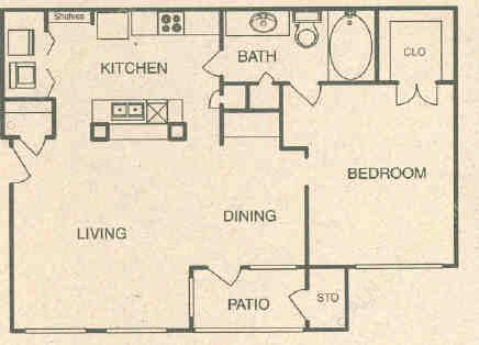 733 sq. ft. A2 floor plan
