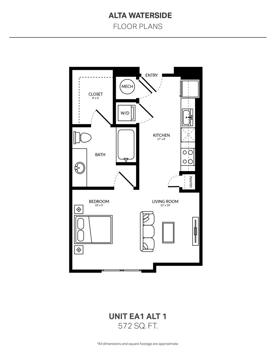 572 sq. ft. EA1 Alt floor plan