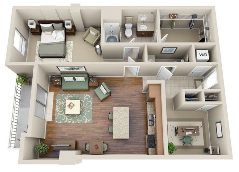 971 sq. ft. A9 floor plan