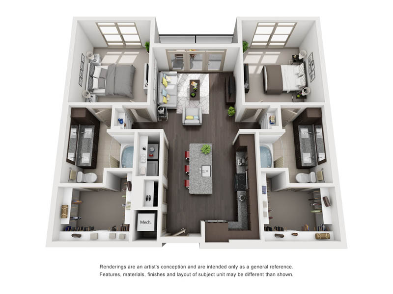 1,149 sq. ft. B2-1 floor plan