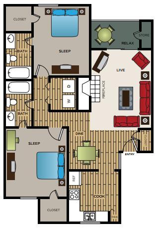 970 sq. ft. B2 floor plan