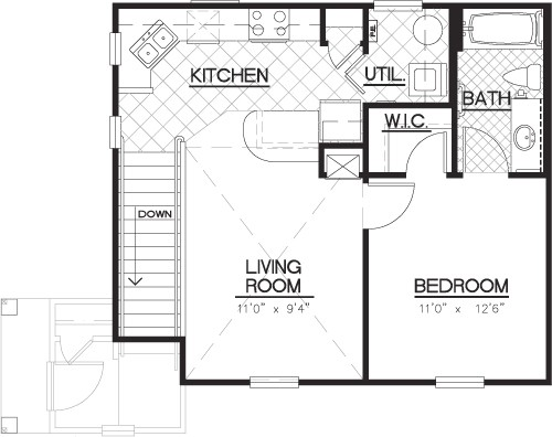 688 sq. ft. A2/CARRIAGE floor plan