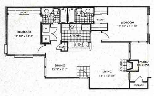 1,046 sq. ft. B2 floor plan