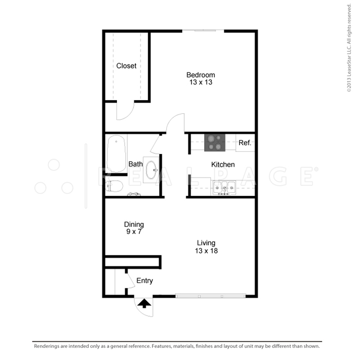 692 sq. ft. floor plan