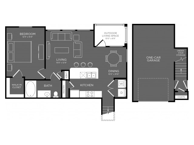 840 sq. ft. Grove floor plan