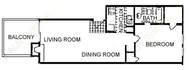 654 sq. ft. Monday floor plan