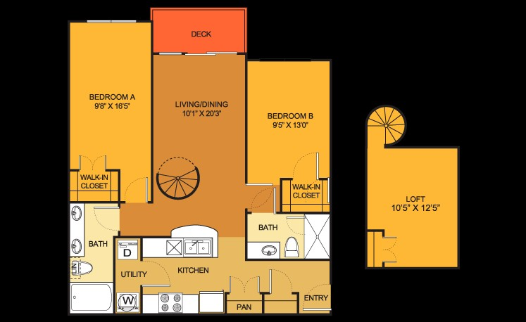 1,034 sq. ft. B10 LOFT floor plan