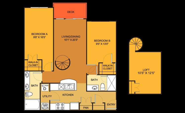 936 sq. ft. B10 floor plan