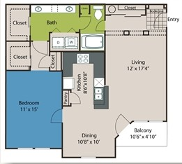 980 sq. ft. A8 floor plan