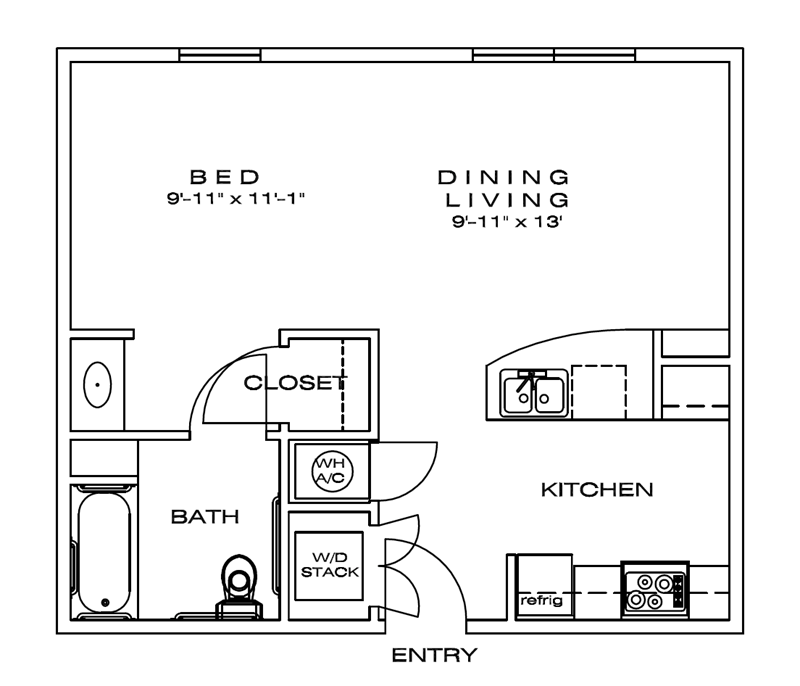 550 sq. ft. Emory/60% floor plan