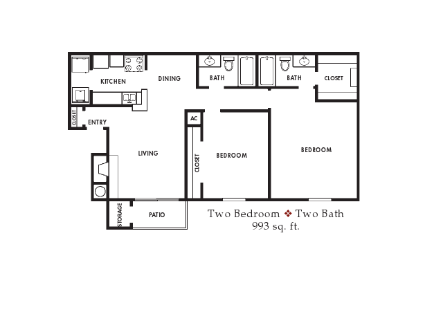 993 sq. ft. floor plan