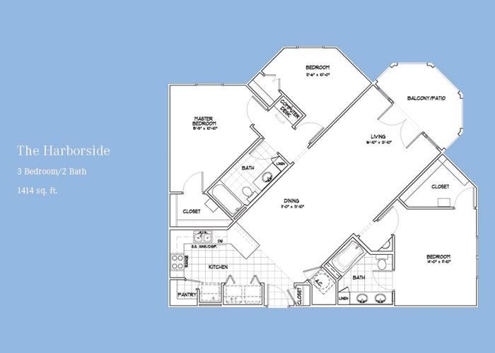 1,414 sq. ft. Harborside floor plan