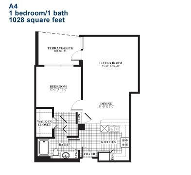 1,028 sq. ft. A4.1 floor plan