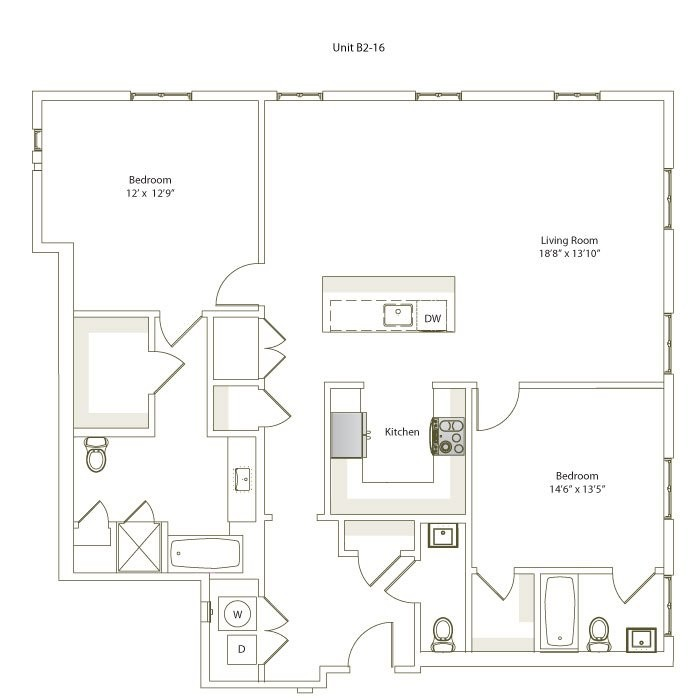 1,408 sq. ft. B2-16 floor plan