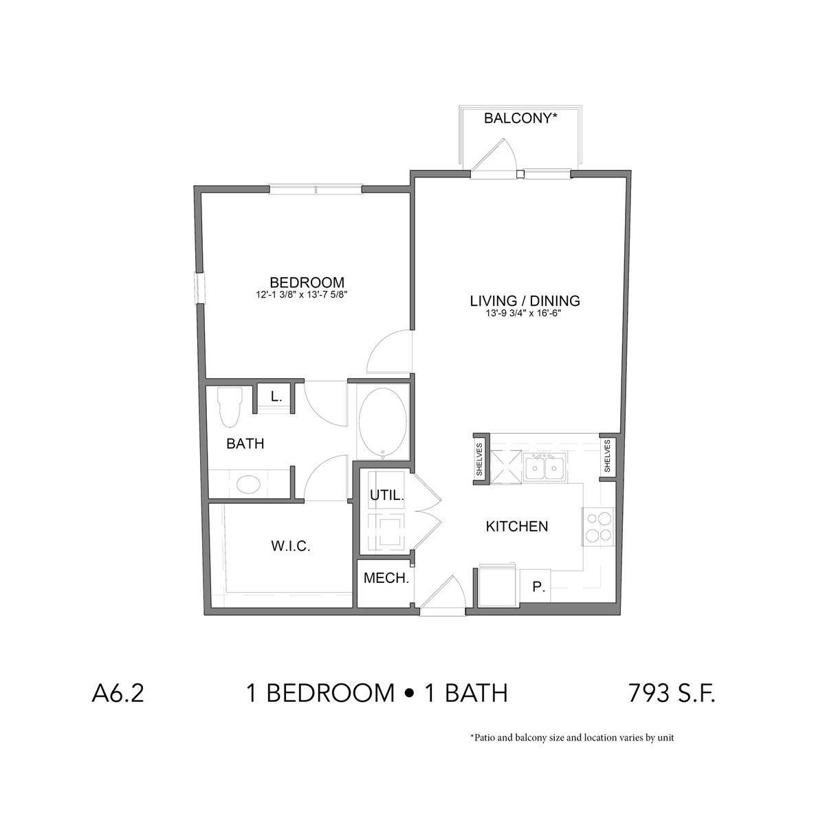 793 sq. ft. A6.2 floor plan