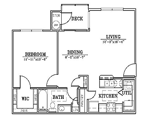 750 sq. ft. A1/60% floor plan