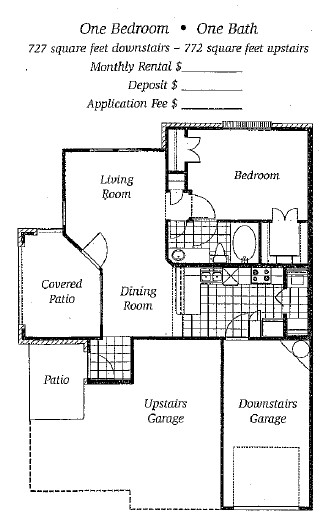 727 sq. ft. to 772 sq. ft. Mkt floor plan