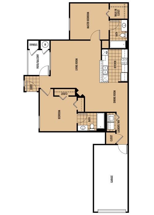 1,116 sq. ft. B1 floor plan