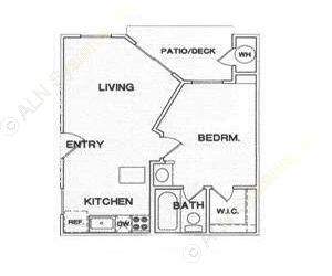 399 sq. ft. A1 floor plan