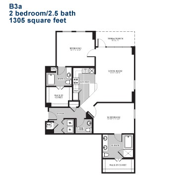 1,305 sq. ft. B3.1 floor plan