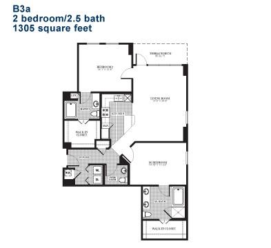 1,305 sq. ft. B3.1 floor plan
