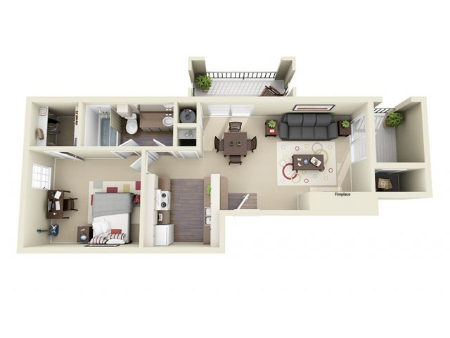 586 sq. ft. B floor plan