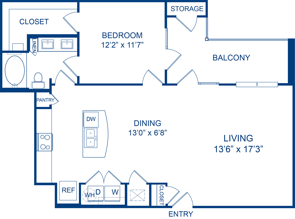 965 sq. ft. Horsemint floor plan