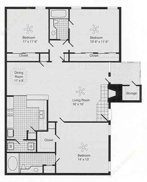 1,368 sq. ft. H PH I floor plan