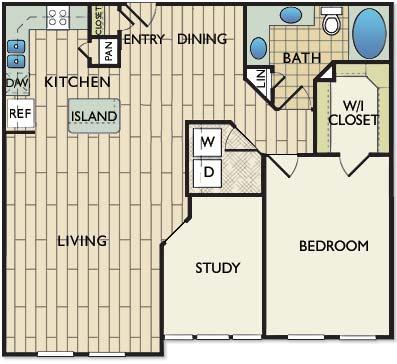 1,057 sq. ft. Miro floor plan