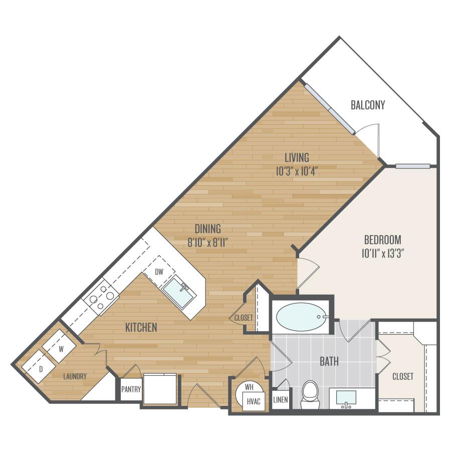 850 sq. ft. A2 floor plan