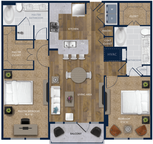 1,276 sq. ft. B4 floor plan