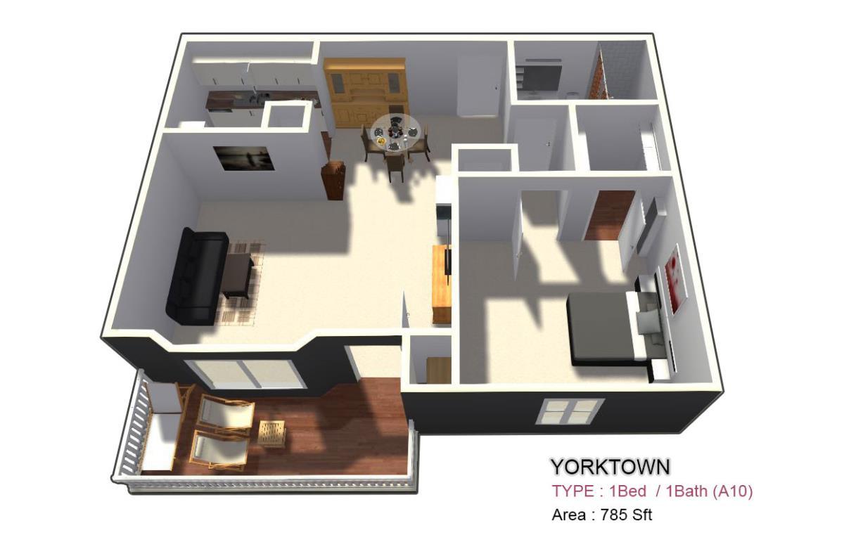 805 sq. ft. 2X1 floor plan